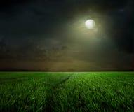 Lantlig natt med moonen Arkivbild