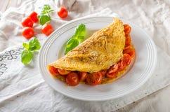 Lantlig omelett med tomaten Royaltyfri Fotografi