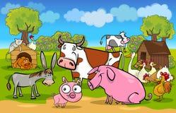 Lantlig plats för tecknad film med lantgårddjur royaltyfri illustrationer