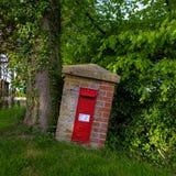 Lantlig postbox som över flyttar sig av ett växande träd royaltyfri bild