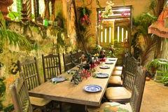 Lantlig restaurang i Barbados som är karibiska arkivfoto