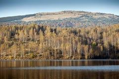 lantlig siberian solnedgång för liggandenatur Lake i höst Royaltyfri Fotografi