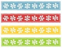 lantlig snowflake för banerlogoer royaltyfri illustrationer