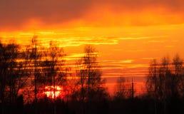 Lantlig solnedgång Arkivfoton