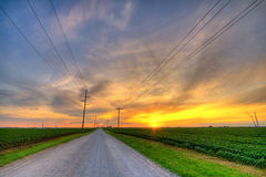 lantlig solnedgång Royaltyfri Fotografi