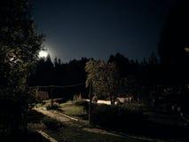 Lantlig sommarnatt och månen arkivbild