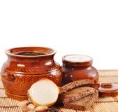 lantlig soup för leramatkruka Arkivfoto
