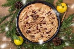 Lantlig stil smakliga hemlagade Apple Berry Cake med mat Concep för jul för snö för trälägenhet för bakgrund för citrus för krydd royaltyfri foto