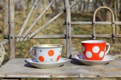 Lantlig stilleben med kopp te fotografering för bildbyråer