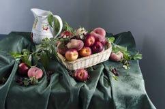 Lantlig stilleben med mogna persikor Arkivfoto