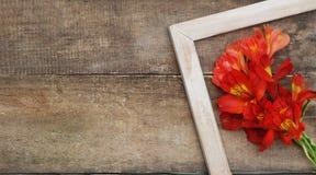Lantlig träbakgrund för vit för Alstromeria för ram orange Copmosition för blomma bukett ordning Arkivbilder