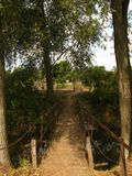 Lantlig träbro i solnedgången royaltyfri fotografi