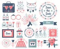 Lantlig uppsättning för beståndsdelar för bröllop för vektorhandteckning Blom- tappning klottrar, lämnar, blommar och ramar datum royaltyfri illustrationer
