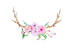 Lantlig uppsättning för vattenfärg av blommor och sidor Royaltyfri Bild