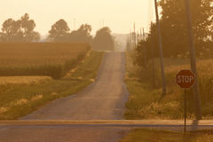 Lantlig väg i Illinois Royaltyfri Fotografi
