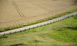 Lantlig väg som halverar fält Royaltyfria Foton