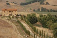 Lantlig väg, Tuscany Italien Fotografering för Bildbyråer