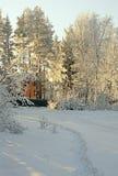 lantlig vinter för härlig liggande Arkivbild
