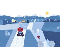 lantlig vinter för liggande Stock Illustrationer