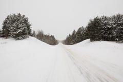 lantlig vinter för väg Arkivfoto