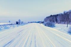 lantlig vinter för väg Arkivfoton