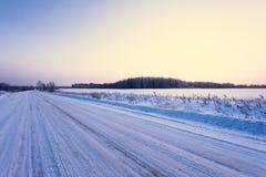 lantlig vinter för väg Royaltyfri Foto