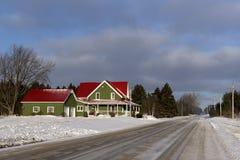 Lantlig vinterplats i det Simcoe länet, Ontario Arkivbild