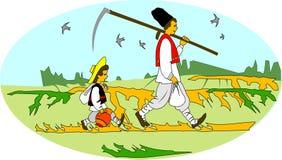 lantliga arbetare för balkan bönder vektor illustrationer