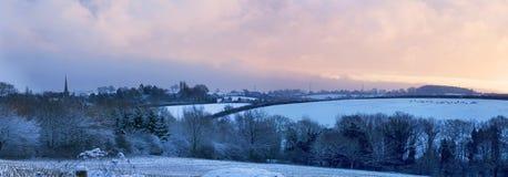 Lantliga England i vinter Arkivbilder