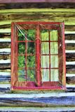 Lantliga gamla journalkabinfönster som lokaliseras i Childwold, New York, Förenta staterna Arkivfoto