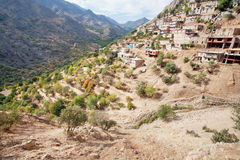 Lantliga hem på de steniga klipporna av den jämna bergbyn i kanjon i kurdistanen Royaltyfri Bild