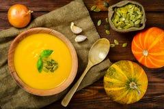 Lantliga hemlagade Autumn Butternut Squash Soup Royaltyfri Foto