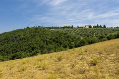 Lantliga landskap av härliga Tuscany, Italien Arkivfoton