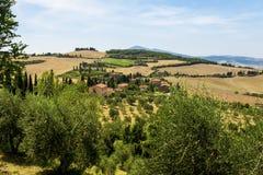 Lantliga landskap av härliga Tuscany, Italien Royaltyfri Bild
