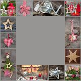 Lantliga och klassiska garneringidéer för jul - landsstyl Arkivfoto