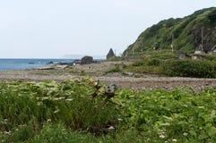 Lantligt avfall på kusten Arkivbilder