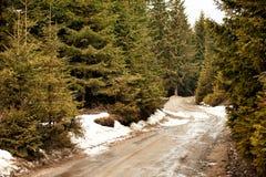 Lantligt berglandskap i en sen vinterdag Royaltyfri Bild