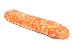 Lantligt bröd med bearbetad ost, på en vit bakgrund Ny och läcker ostbagett produkter för bageridesignbild Royaltyfria Foton