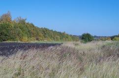 Lantligt höstlandskapfält, avlägsen horisont Royaltyfri Fotografi