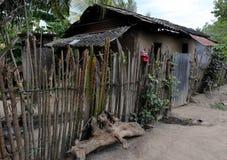Lantligt hem i Honduras med pinnestaketet Arkivfoto