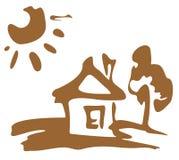 lantligt hus vektor illustrationer