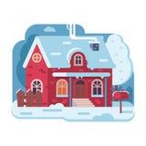 Lantligt hus för vinter med lampglaset Arkivfoto