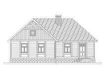Lantligt hus från bearbetade journaler stock illustrationer