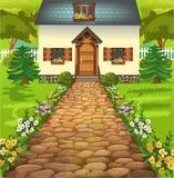 Lantligt hus i mitt av naturen royaltyfri illustrationer