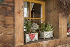 Lantligt hus med blommor Arkivfoto