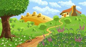 Lantligt landskap vektor illustrationer