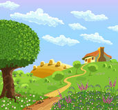 Lantligt landskap royaltyfri illustrationer