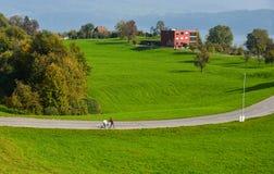 Lantligt landskap av Luzern, Schweiz royaltyfria foton