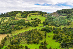 Lantligt landskap, Chiloe ö, Chile royaltyfri foto
