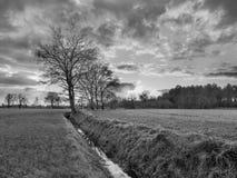 Lantligt landskap, fält med träd nära ett dike och färgrik solnedgång med dramatiska moln, Weelde, Belgien arkivbild